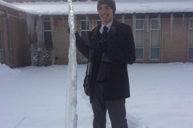 Giant icicle from off the church